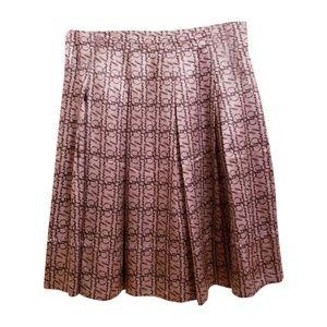 Burberry London Beige Pleated Silk Skirt Size 10